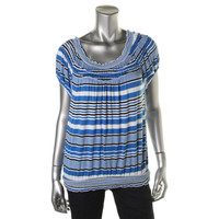Style & Co. Womens Gathered Puff Sleeves Pullover Top