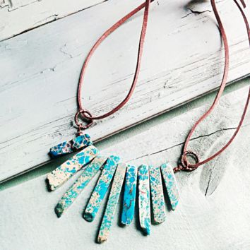TURQUOISE Blue Regalite Slabs on Leather Cord Necklace 231D