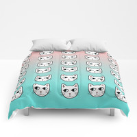 Whimsical White Cats Mint Pink Pattern Comforters by Artist Abigail