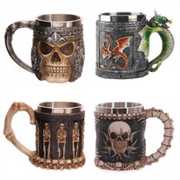 1pcs Stainless Stell Liner Drinking Skull Mug Resin 3D Skull Tankard Horror Decor Cup for Halloween Bar Party Free Shipping