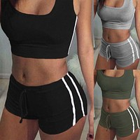 Sporty 2 Piece Set - Fashion Women's Sport Gym Yoga Vest Fitness Crop Tops Tank Shorts Workout Set