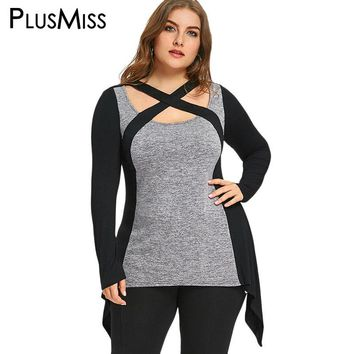 PlusMiss Plus Size 5XL Marled Criss Cross Sexy T-shirts Ladies Long Sleeve Oversized T Shirts Autumn 2017 Women Tops Big Size
