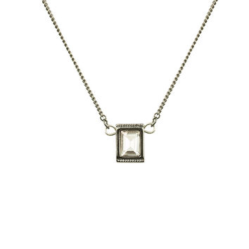 SQUARE CRYSTAL DROP  - GUNMETAL