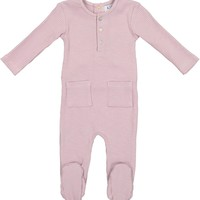 Kipp Baby Girls' Pink Ribbed Footie