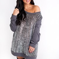 Curvy Glimmer Of Hope Tunic (Grey/Silver)