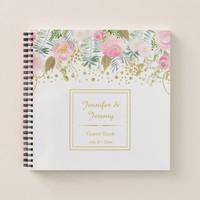 Blush Pink and Gold Watercolor Floral Guest Book |