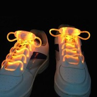 a pair of LED Flashing light Shoe Laces Shoelaces Rave Party Funny Gift cool Yellow Color