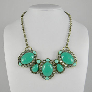 Chunky Seafoam Green & Cool Mint Bubble Statement NECKLACE