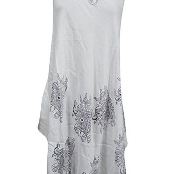 Mogul Womens Hippie Dress Elephant Printed Sleeveless White Beach Dress M