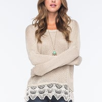 Blu Pepper Lace Trimmed Womens Sweater Taupe  In Sizes