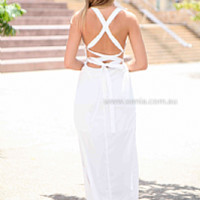 CALIFORNIA DAYS MAXI , DRESSES, TOPS, BOTTOMS, JACKETS & JUMPERS, ACCESSORIES, 50% OFF SALE, PRE ORDER, NEW ARRIVALS, PLAYSUIT, COLOUR, GIFT VOUCHER,,MAXIS,White,CUT OUT,BACKLESS,SLEEVELESS Australia, Queensland, Brisbane