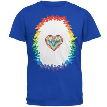DCCKJY1 Halloween Rainbow Heart Unicorn Costume Pony Mens Soft T Shirt