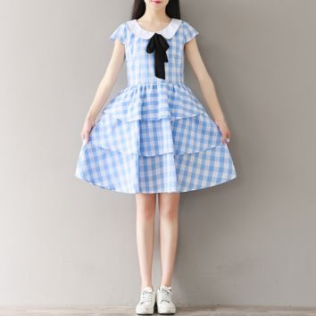 PLAID BOWKNOT DOLLS STUDENT DRESS CHIFFON CAKE SKIRT TIDE