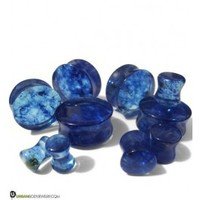 River Blue Glass Plugs | Exotic Double Flares | UrbanBodyJewelry.com