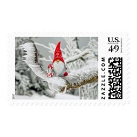 Elf in Ice Storm with Presents and Red Hat Postage