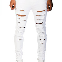 Distressed Ripped Jean - White