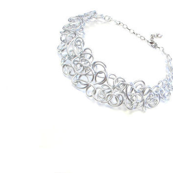 Collar Necklace Lacy Silver Statement Choker Aluminum Wire Art Neutral Jewelry