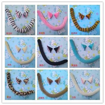 Anime cosplay Japanese cartoon Cat Tiger Leopard Zebra fox animal Ears+tail set Halloween party cos Costumes cat Ears+tail