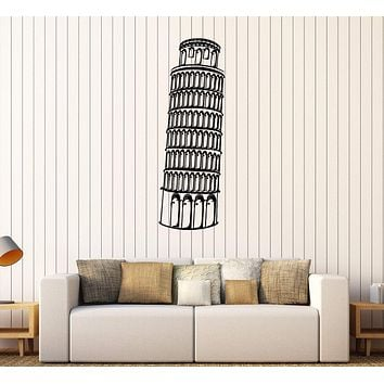 Vinyl Wall Decal Leaning Tower of Pisa Italy Italian Art Stickers Unique Gift (365ig)