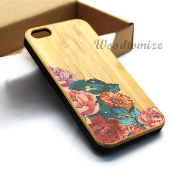 iPhone 5C case, iPhone 5S 5 case, Wood cover, Vintage flower rose, Bamboo, Cherry wood, Sapele wood, FREE screen protector