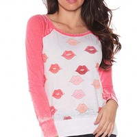 Chaser Coral Pink Sketchy Lips Long Sleeve Tee - New Arrivals at Shop Divine