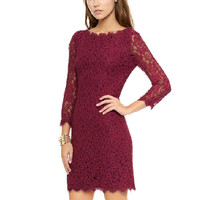Red Crochet Lace Dress with Half Sleeve
