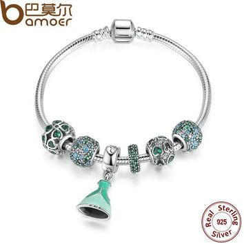 Authentic 925 Sterling Silver Green Bracelet With Lucky Clover Charm Engagement Jewelry PSB007