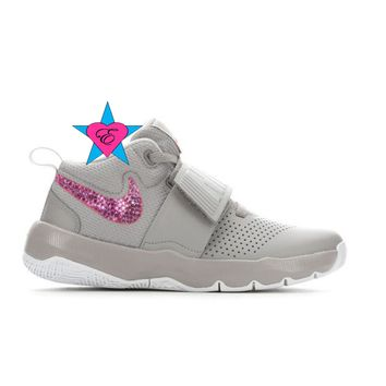 Bling Shoes for Girls | Gray Nike Team Hustle D8 | 3.5-7