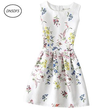13~20 years Dress of Teenager Summer Sleeveless Teens Print Dress For Girls' school sleeveless printed circular dress
