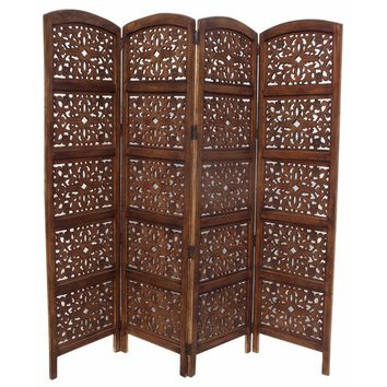 Handmade Foldable 4-Panel Wooden Partition Room Divider, Brown  By The Urban Port