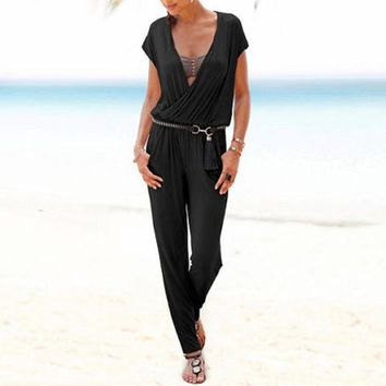 ONETOW Fashion  2017 Summer Rompers Women Jumpsuit Deep V Neck Short Sleeve Elastic Waist Solid Casual Long Overalls Sexy Playsuit