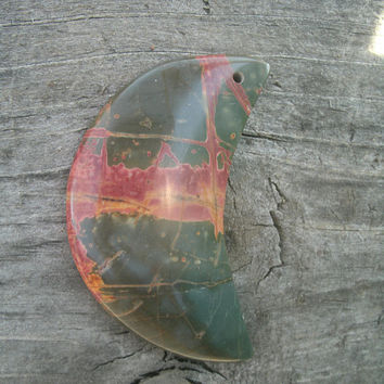 Picasso Jasper Crescent Moon, pendant bead, polished and drilled, DIY pendant supply, jewelry supply, semi precious,  black, red, yellow