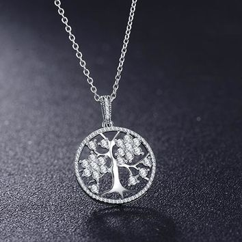 Luxury Cubic Zirconia Sterling Silver Tree of Life Necklace