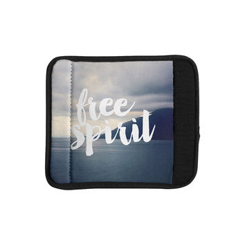 "Catherine McDonald ""Free Spirit"" Coastal Typography Luggage Handle Wrap"