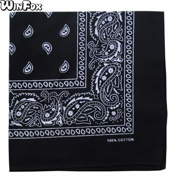 Winfox 2018 New Hip Hop Punk Cotton Black White Navy Red Paisley Bandana Headwear Scarf For Mens Womens