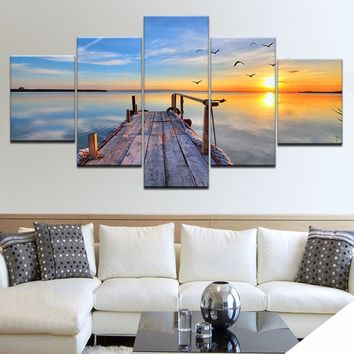 Canvas HD Prints Pictures Living Room Decor 5 Pieces Seagull Sea View Tableau Paintings Bridge Poster Modular Wall Art Framework