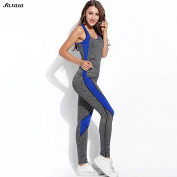 FANALA Women Suit Slim O Neck 2 Piece Set Women Sleeveless Vest and Pants Elastic Tracksuit Women Clothing Suit