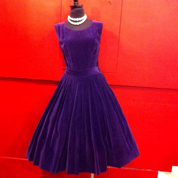 ROYAL PURPLE- 1950's Lush Cotton Couture VELVET Sleeveless New Look Mid Century Modern Cocktail Party Dress - Very Full Skirt Sz Md Lg