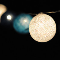 Shaded Blue cotton ball lantern string light patio by cottonlight