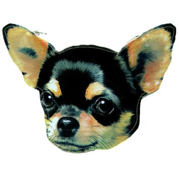 Baby Chihuahua Black and Tan Puppy Dog Head Shaped Vinyl Animal Themed Clutch Bag