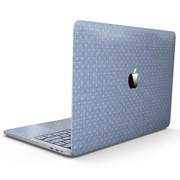 Micro Polka Dots Over Scratched Blue Fabric - MacBook Pro with Touch Bar Skin Kit