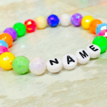 Personalize name Bracelet,  Letter Bead Jewelry,  Little Girl's Accessories,  Disco beads