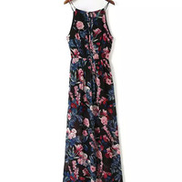 Black Floral Printed Spaghetti Strap Maxi Dress