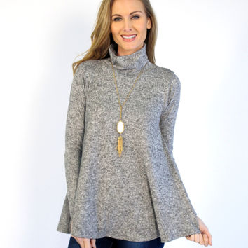 Caylee Long Sleeve Turtle Neck Swing Top: Gray