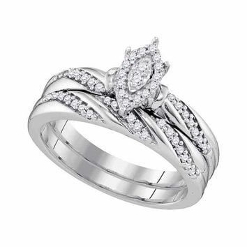 10kt White Gold Women's Diamond Oval Cluster Bridal Wedding Engagement Ring Band Set 1/4 Cttw - FREE Shipping (US/CAN)