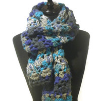 chunky oversized crochet scarf, multicolor scarf, winter scarf