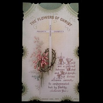 Flowers of Christ: Poverty, Obedience, & Chastity Holy Card