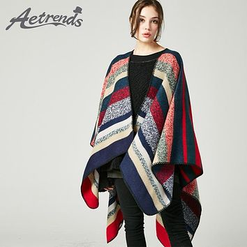 [AETRENDS] 2017 New Double Sides Striped Cashmere Feel Winter Poncho Women Long Scarf Cape Winter Pashmina Z-5471