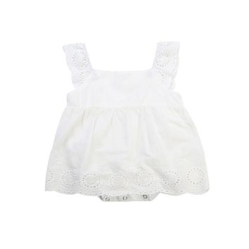 2017 Summer Princess Girls Lace White Dress Cute Newborn Baby Girl Romper One Pieces Toddler Kid Mini Party Dress Sundress 0-24M
