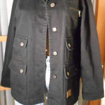 Vintage Ralph Lauren Black Barn Coat Size Petite Medium